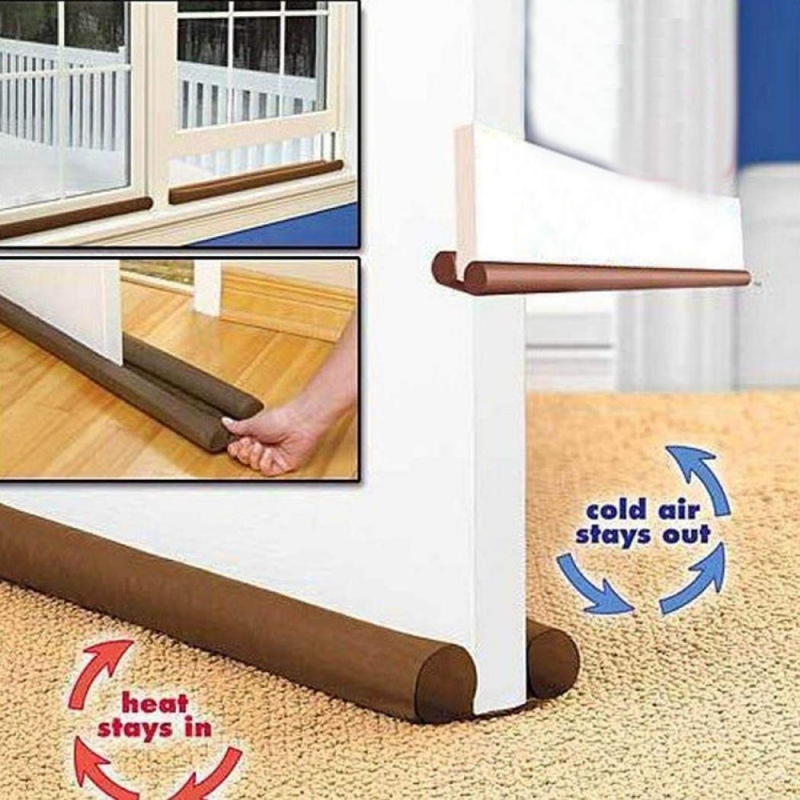 Double Guard Stopper Twin Door Decor Protector Door Stop Draft Dodger Sound And Noise Reduction Energy Saving Home