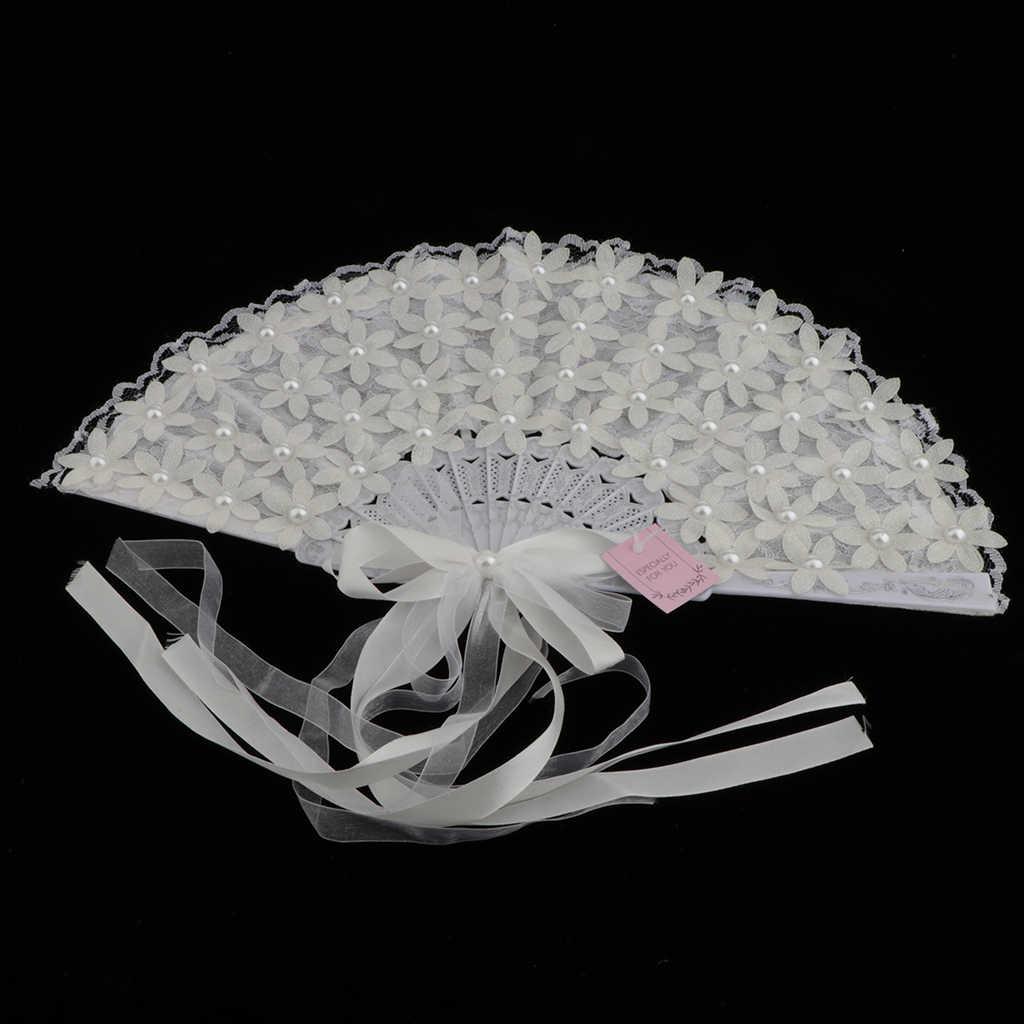 Vintage Pizzo Da Sposa Bouquet Fan di Cristallo della Damigella D'onore Bouquet Da Sposa Bouquet Accessori Flapper (Bianco)