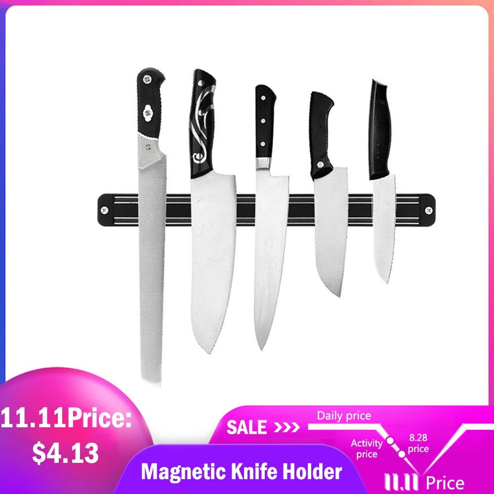 Magnetic Knife Holder Wall Mount Black Knife Rack For Plastic Block Magnet Knife Holder Kitchen Utensil Organizer