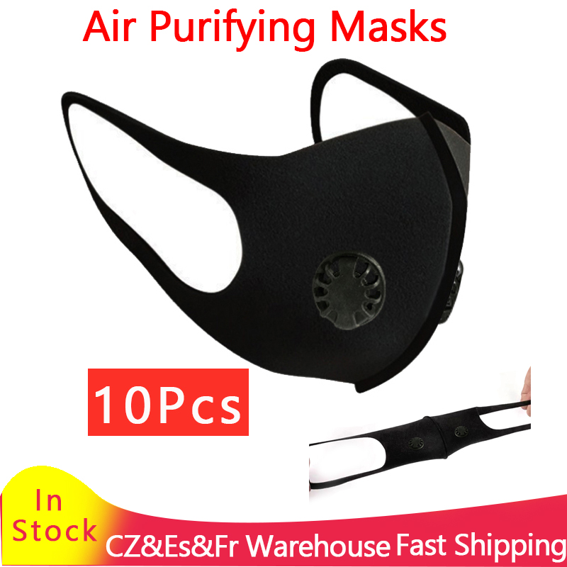 1/5/10pcs Breathable Reusable Masks Unisex Mouth Mask Air Purifying Cycling Masks Double Valve Face Mask