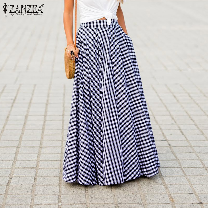 2019 ZANZEA Women Zipper Pleated Skirts Ladies Vintage Plaid Check Long Skirt Casual Loose Pockets Faldas Bohemian Jupe Femme