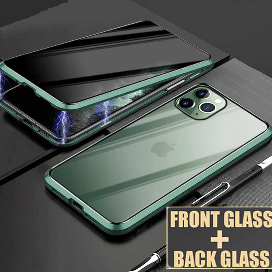 KISSCASE Từ Tính Riêng Tư Kính Cường Lực Cho iPhone 11 XR XS Ốp Lưng Chống Gián Điệp 360 Bảo Vệ Nam Châm Dành Cho iPhone 11 Pro 6S 7 8 Bao