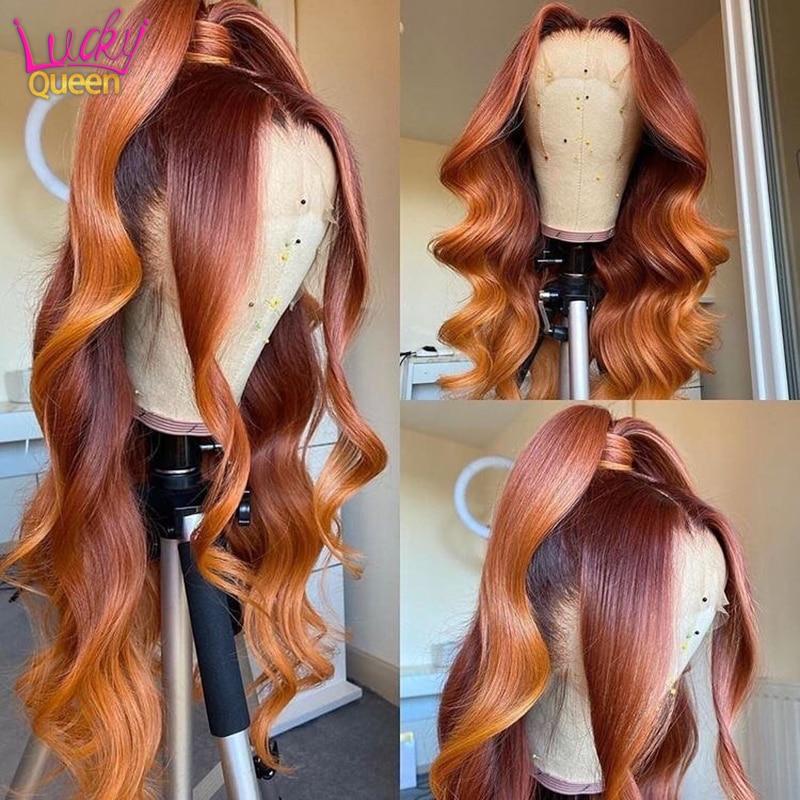 Ombre laranja gengibre colorido brasileiro onda solta 13x4 frente do laço perucas de cabelo humano pré-arrancadas para perucas de cabelo humano virgem feminino
