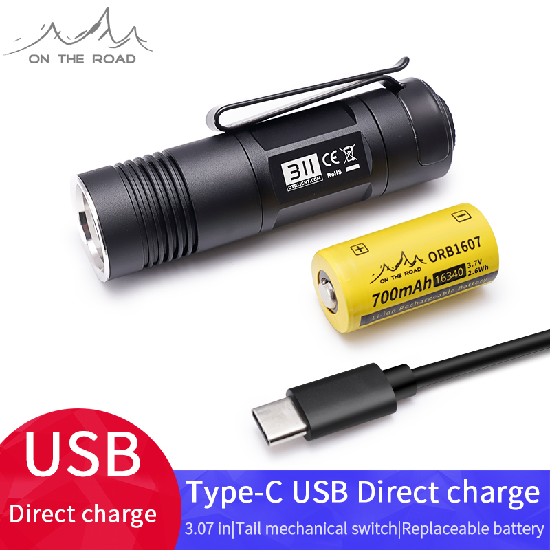 ON THE ROAD 311,Type-C USB Flashlight Mini Flashlight,small And Bright Flashlight,Portable Flashlight,For Outdoor And Home Use,