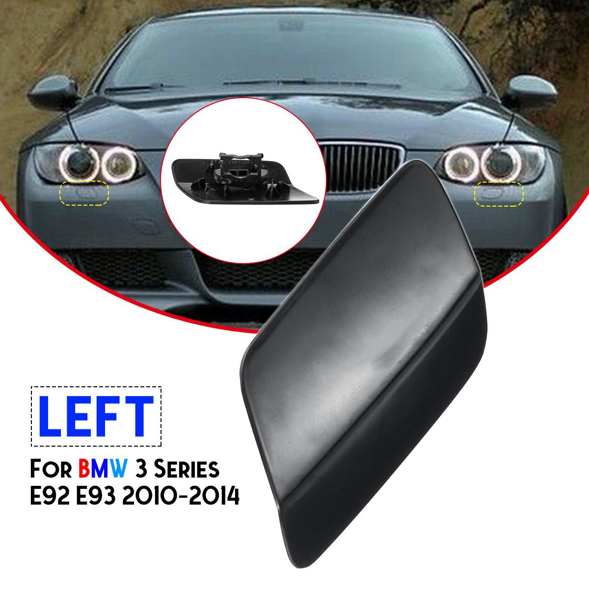 For BMW E92 E93 LCI 10-13 Front Head Light Washer Jet Nozzle Cover Cap Right !