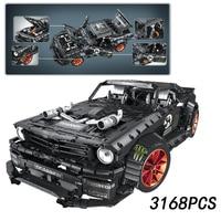RC Ford Mustang Hoonicorn RTR V2 Technic Super Racing Car Motor 20102 MOC 22970 Building Blocks Bricks LED light legoinglys toys