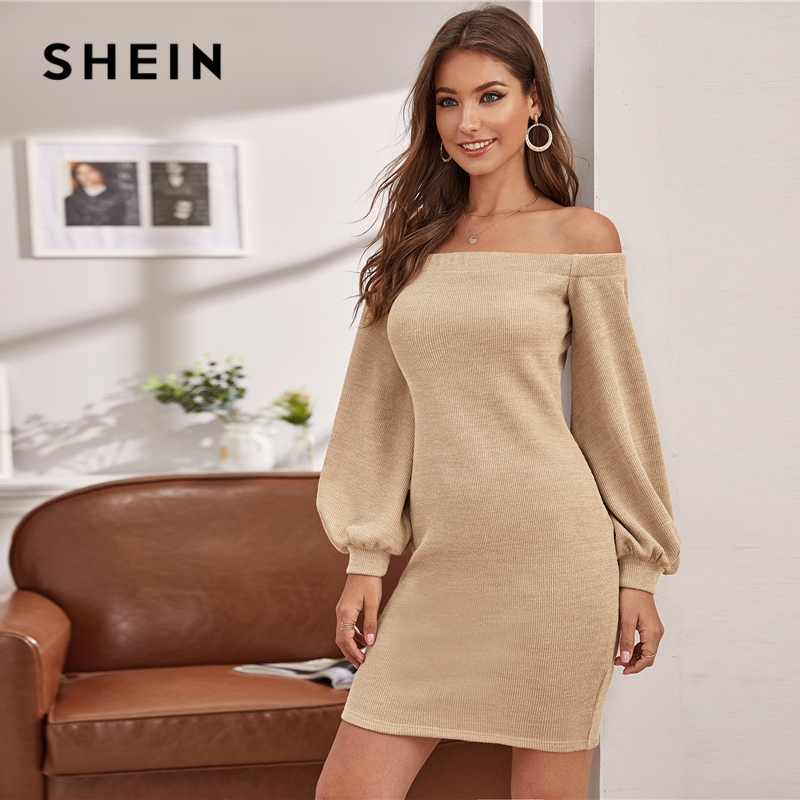 SHEIN Off Shoulder Lantern Sleeve Sweater Dress Without Belt Women Autumn Winter Solid Knitted Fitted Elegant Pencil Dresses 2
