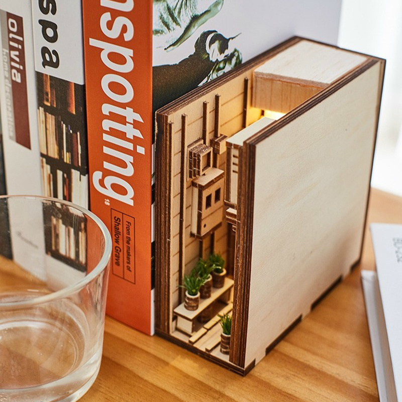 Bookshelf-Decor Model Stand-Decoration Inserts Wooden Japanese-Style Building-Kit Art