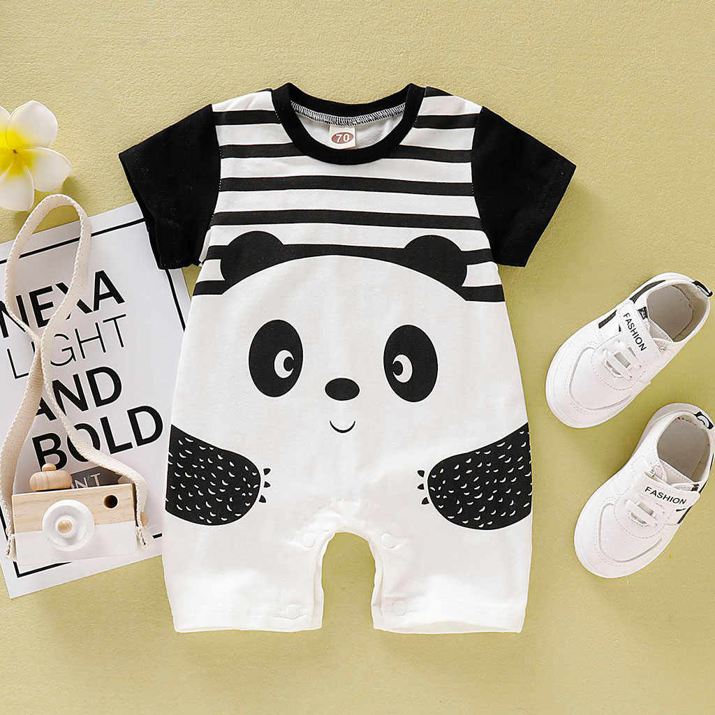 baby girl clothes baby romper baby girl romper winter pudcoco halloween costume jumps Short Sleeve Cartoon Panda Animal 6-24m Z4