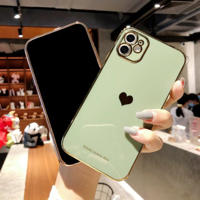 Electroplated love heart Phone Case For iPhone 12Pro 12 11 Pro Max XR XS X XS Max 7 8 Plus Shockproof Protective Back Cover capa 3