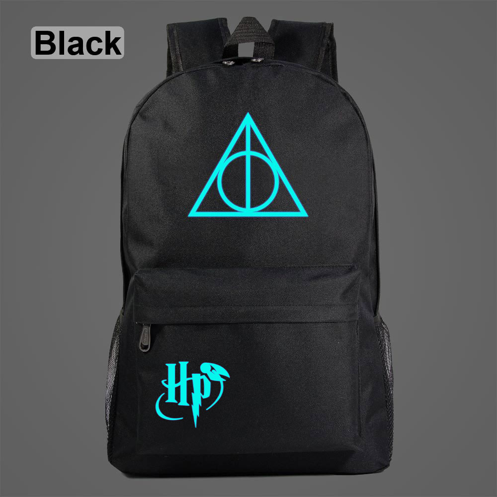 Luminous Deathly Hallows Triangle Children Boy Girl School Bag Teenagers Student Schoolbags Women Packsack Men Backpack