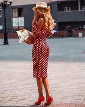 2019 Summer Vintage  Women  Polka dot Dress Slim Bodycon Off Shoulder Short Sleeve  Sundress sexy off the shoulder 3 4 sleeve polka dot dress for women