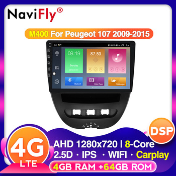 Navifly voice control Android IPS DSP 4G LTE For Peugeot 107 2009-2015 Car multimedia video gps radio player No DVD 2 din image