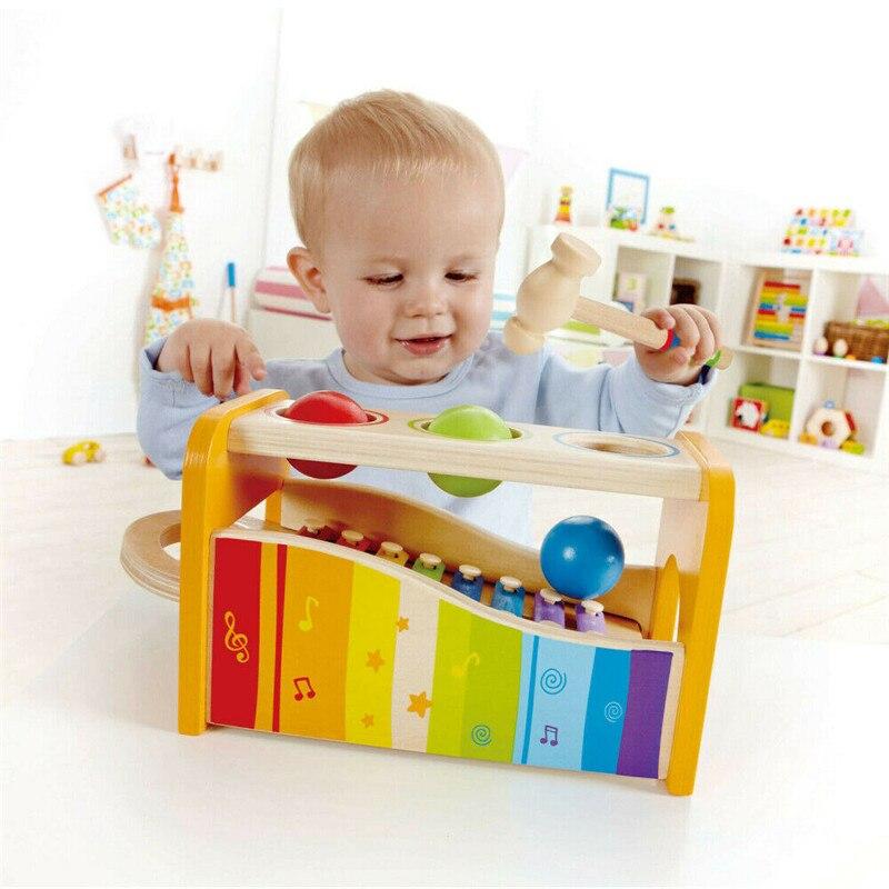 Новые красочные детские музыкальные инструменты милый ребенок ксилофон развивающие скамейки деревянная игрушка