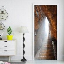 Самоклеящаяся ПВХ наклейка на дверь наклейка на стену примитивная пещера камень Водонепроницаемый 3D обои постер дверь спальни Домашний де...