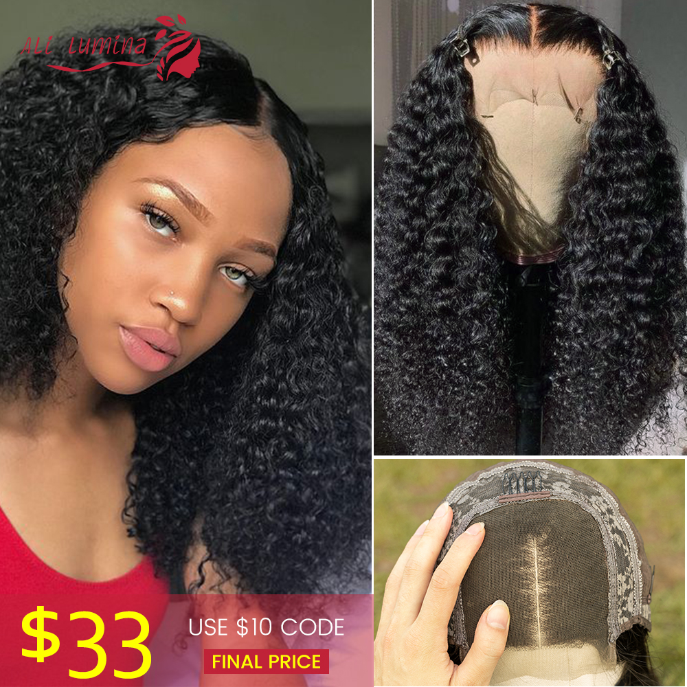 4X4 Kinky Curly Lace Closure Human Hair Wig Malaysian Hair Lace Closure Wig Remy Human Hair Wig Density 180% Ali Lumina 30inch