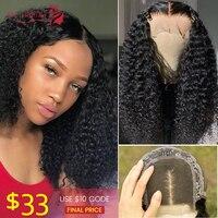4X4 Kinky Curly Lace Closure Human Hair Wig Malaysian Hair Lace Closure Wig Remy Human Hair Wig Density 180% Ali Lumina 30inch