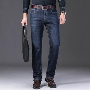 Image 2 - Jantour Inverno Termico Flanella Caldo di Stirata Dei Jeans del Mens di Marca di Alta Qualità Pantaloni In Pile da uomo Dritto Pantaloni affollano jean 40 42 44