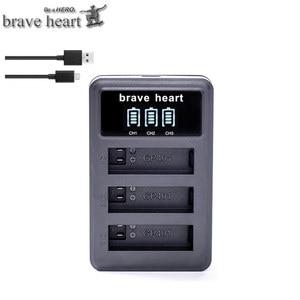 Image 3 - Bateria Gopro גיבור 4 hero4 סוללה + LED 3 חריצי USB מטען עבור GoPro HERO4 שחור/כסף/לבן פעולה מצלמה אבזרים
