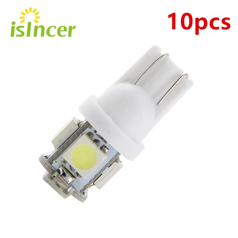 10pcs T10 LED W5W 5050 5SMD 192 168 194 White Lights LED Car Light Wedge Lamp Bulbs Super Bright DC 12V License Plate Light DRL
