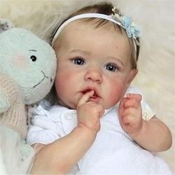 2020 novo realista saskia renascer bebê bonecas olhos cinzentos meninas boneca de silicone completo