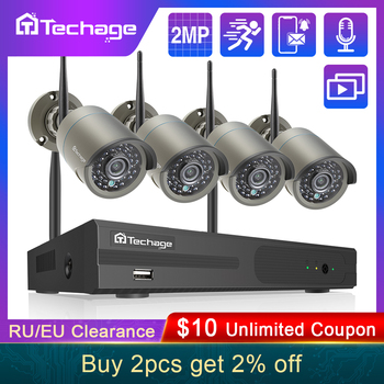Techage 2MP 1080P WIFI Wireless NVR Security Camera Kit Outdoor Audio Recorder P2P Remote Access IP Camera CCTV Surveillance Set