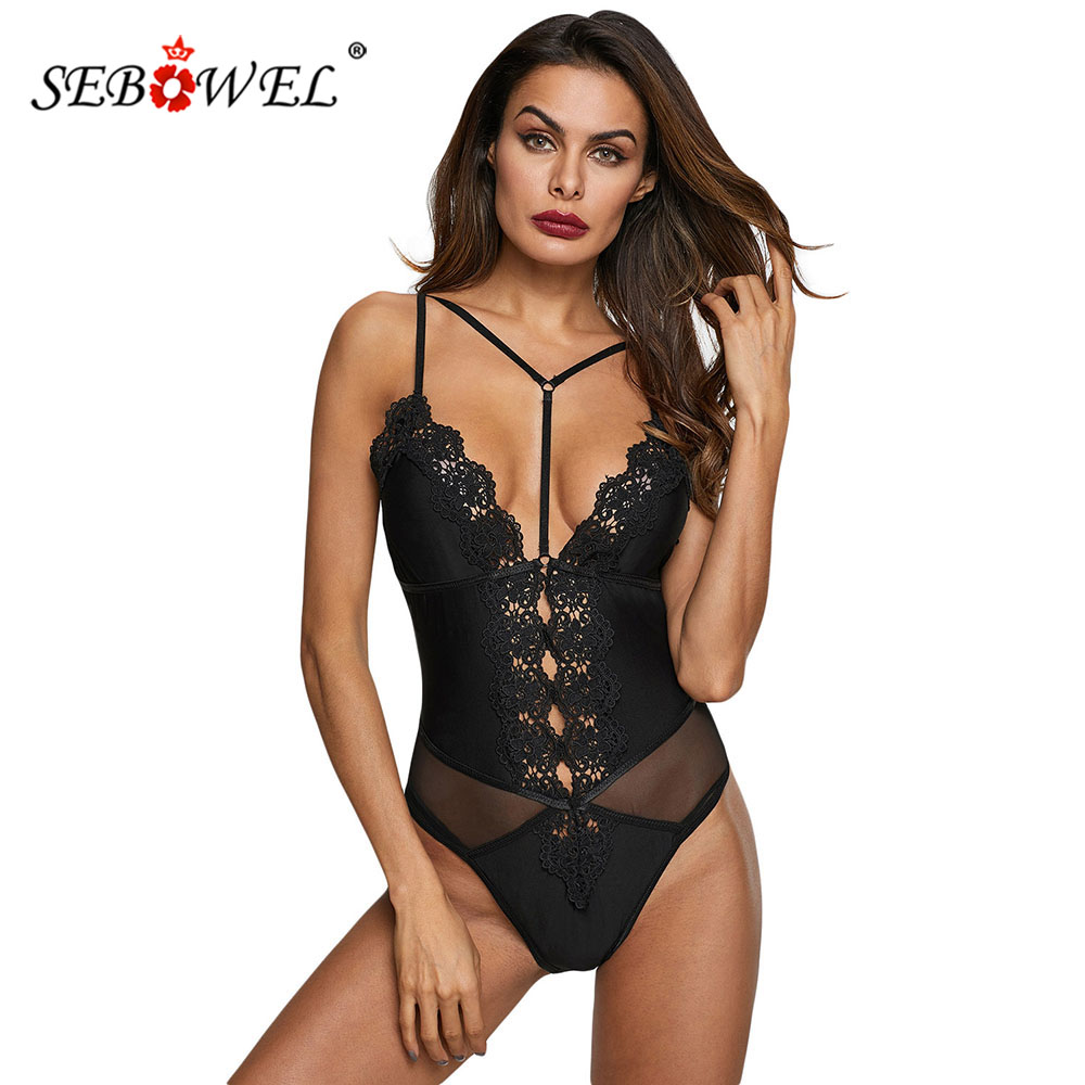 SEBOWEL Lace Hollow Out Plunge V Bodysuit Woman Strappy Sheer Mesh Lady Female Sexy Backless White/Black Body Top Clothes S M L