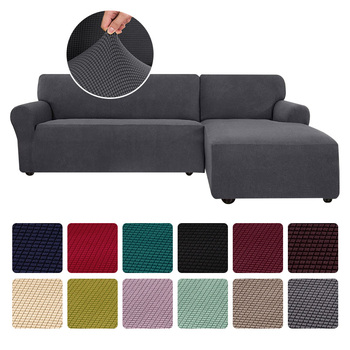 Jacquard Corner Sofa Cover For Living Room Stretch Couch Slipcover L Shape Sofa Cover Elastic Cover Chaise Longue Sectional