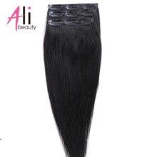 Human-Hair Clip-In Hair-90g Straight Extenions Ali-Beauty Hair-3pieces/Set Brazilian