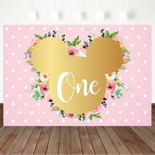 Minnie Mouse 1st Birthday Backdrop Pink Flowers Wave Point Girl First Birthday Photo Background Dessert Table Decorations Props independence day firecracker birthday backdrop 4th of july first birthday party photo background cake table decorations supplies