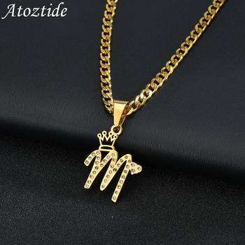 Atoztide CustomCrystal NameNecklaces Personalized Jewelry Cuban Chain Pendant Zircon Stainless Steel ChokerFor Women Gift