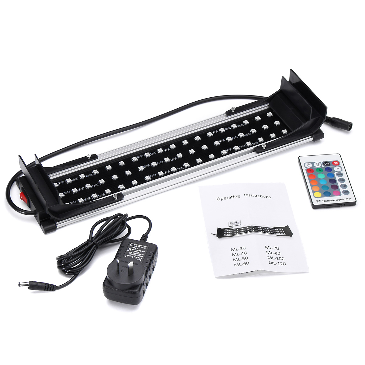 RGB 10W 38cm Hood LED Dimmable Aquarium Fish Tank Light Lamp Color Changing With Remote Controller AC 110-240V