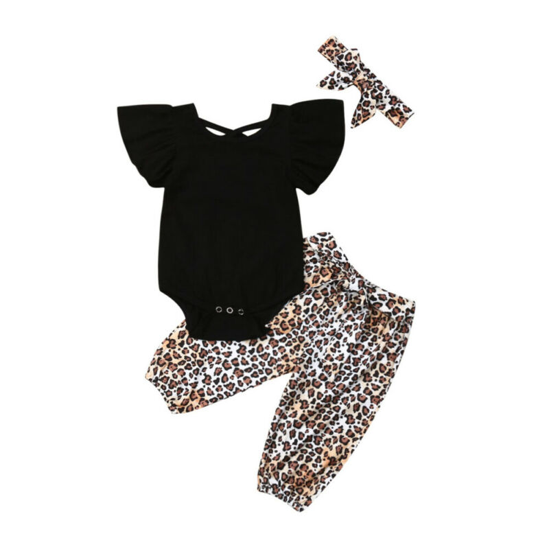 Leopard Fly-Sleeve Baby-Girls 3pcs Newborn Tops Outfit-Set Long-Pants 3m-3years