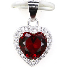 18x11mm 1.6g Luxury Heart Shape Pink Tourmaline CZ Real 925 Solid Sterling Silver Stud Pendant