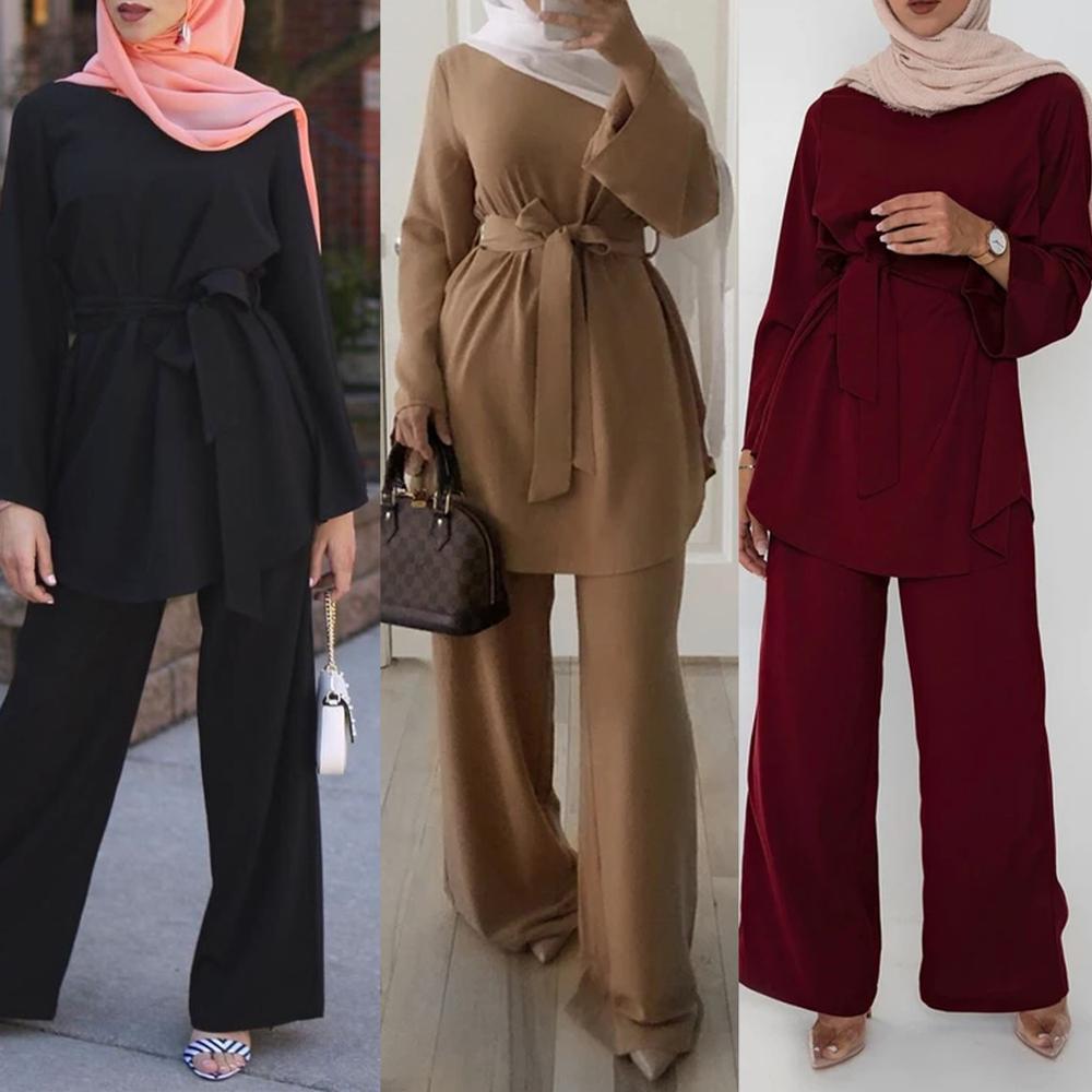 Dubai Abaya Turkey Muslim Sets Kaftan Hijab Dress Abayas for Women Djellaba Islamic Clothing Femme Musulman Ensembles De Mode