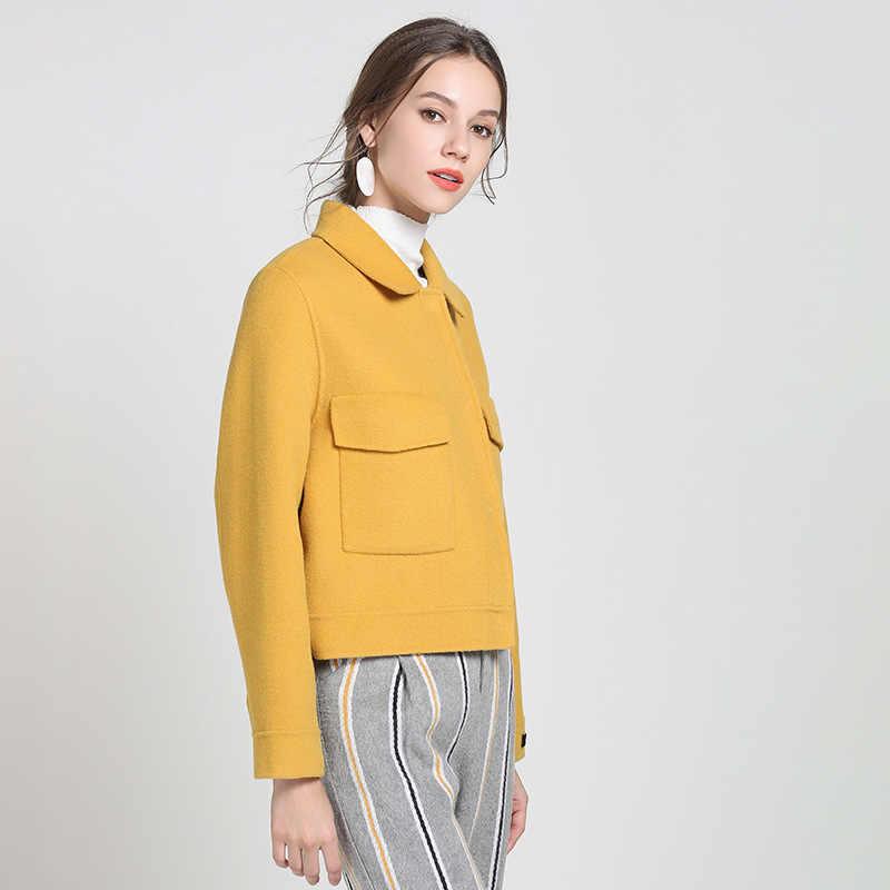 Abrigos cortos de lana de doble cara de marca superior para mujer 2020 Otoño Invierno elegante sólido amarillo Delgado chaqueta de manga larga prendas de vestir Mujer S-L