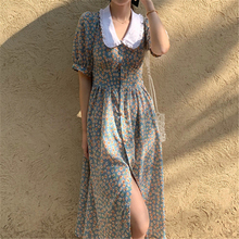 Women Chiffon Dress 2021 Summer Fashion Female Puff Sleeve Vintage Floral Print Peter Pan Collar Boho Dress Casual Vestidos