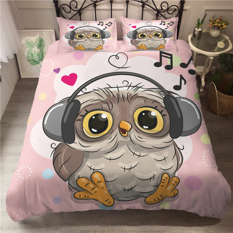 A Bedding Set 3D Printed Duvet Cover Bed Set Owl Home Textiles For Adults Bedclothes With Pillowcase #MTY04