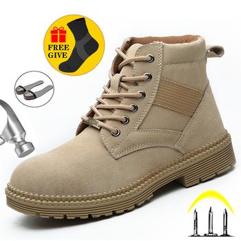 Męskie buty obuwie ochronne męskie odporne na przebicie buty męskie stalowe buty z palcami pluszowe ciepłe buty zimowe męskie obuwie robocze buty wojskowe męskie tanie i dobre opinie Quanzixuan Pracy i bezpieczeństwa CN (pochodzenie) Krowa Zamszu ANKLE Stałe Krótki pluszowe Futro Okrągły nosek RUBBER