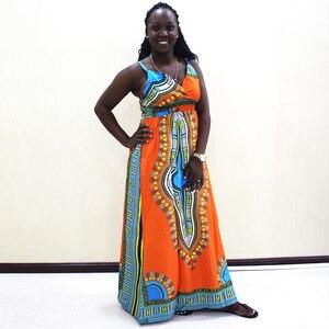 Image 4 - Dashikiage talia przód z rozporkiem sukienka na cienkich ramiączkach elegancka dopasowana, w kwiaty drukuj bez rękawów sukienka jesień nowoczesne Lady kobiety sukienek