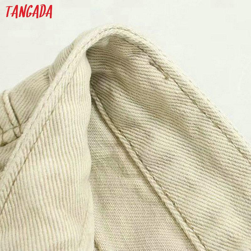Tangada fashion women loose mom jeans long trousers pockets zipper loose streetwear female pants 4M58 55