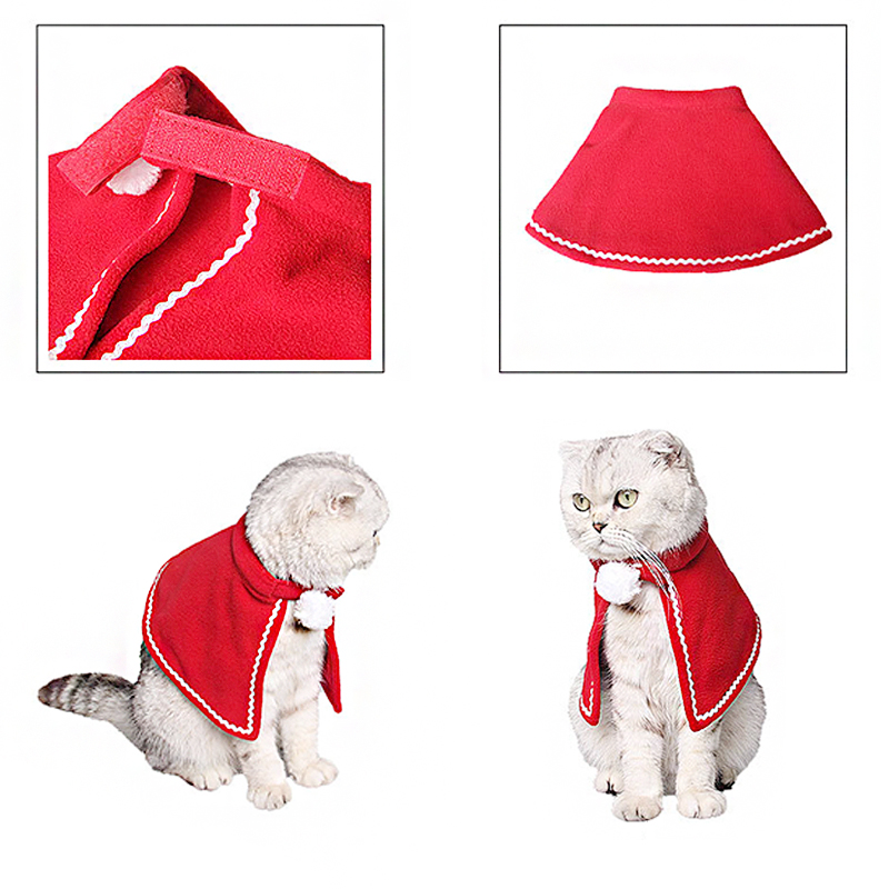 Pet Dog Cat Clothes Christmas Costume Cat Hat Scarf Cloak Dress Up For Kitten Puppy Small Dog Xmas New Year Costume Accessories 7