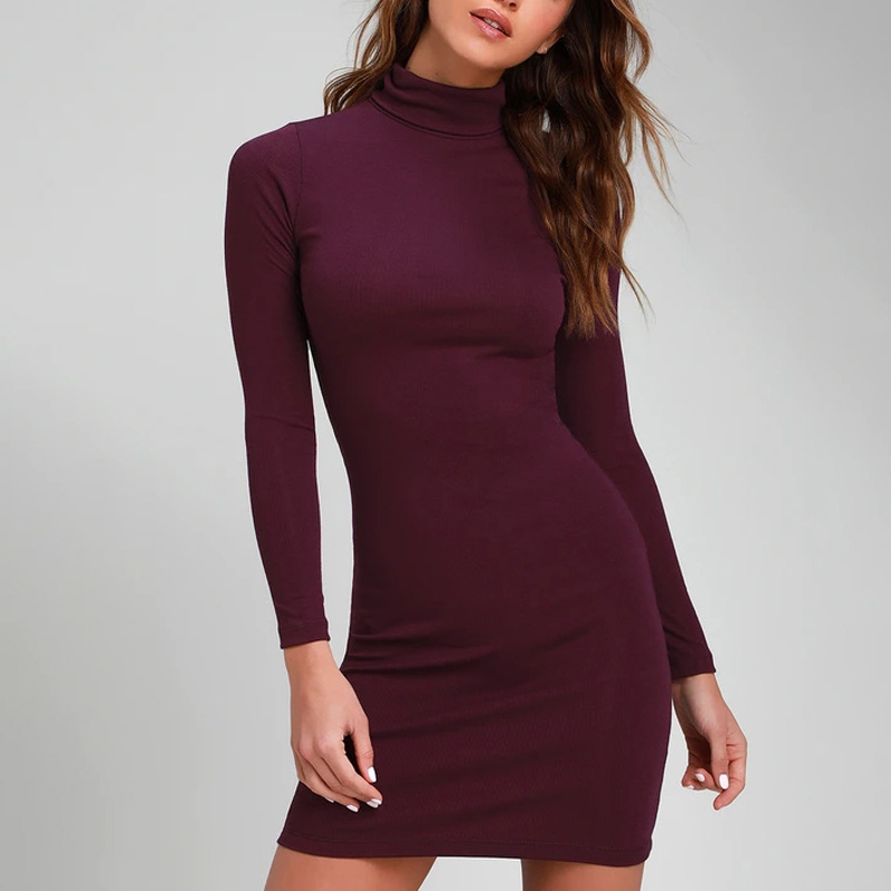 ZAATON®  New stand collar long sleeve solid color sexy slim hip dress 1
