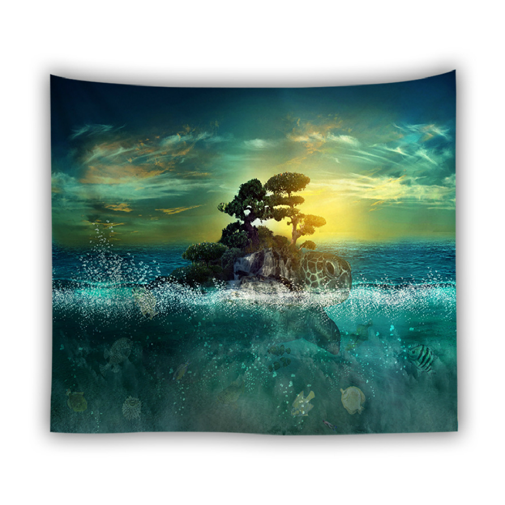 Watercolor Turtle Printing Wall Cloth Tapestries Ocean Style Bohemia Tapestry Wall Hanging Picnic Mat Beach Towel Shawl Blanket in Tapestry from Home Garden