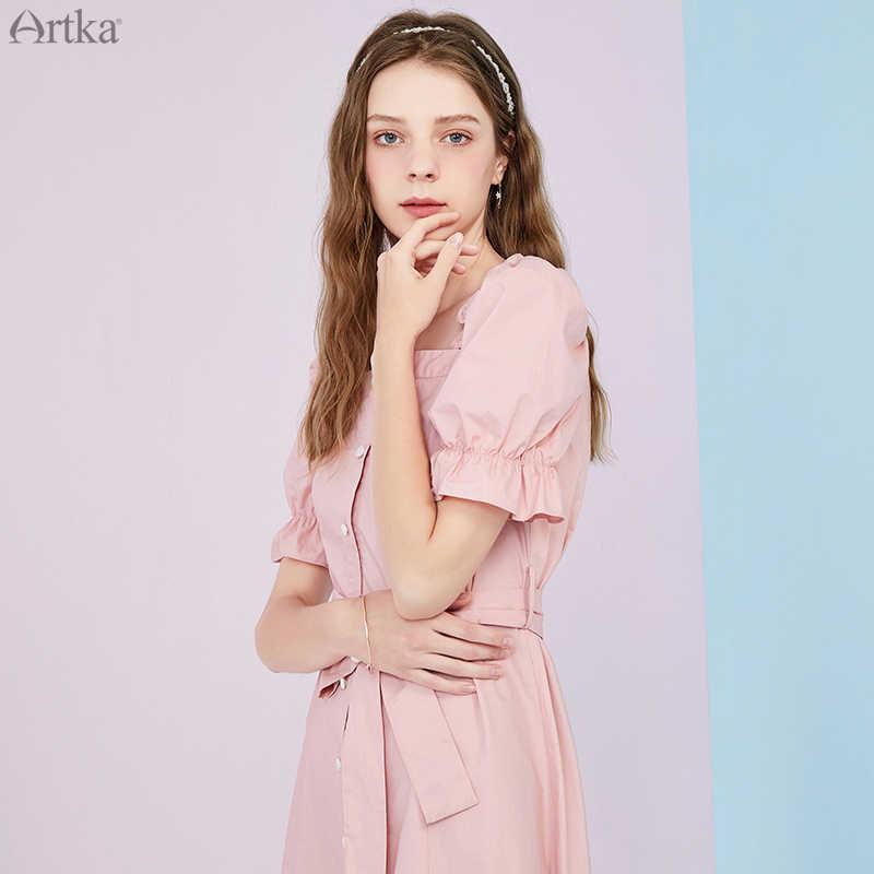 ARTKA 2020 yaz yeni fransız Vintage saf pamuklu elbiseler kanat kare yaka Ruffles puf kollu uzun elbise kadın LA25703X