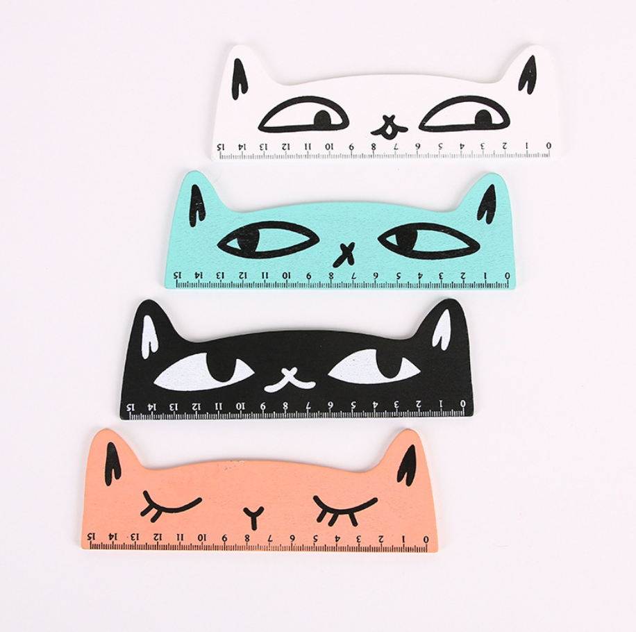 4pcs 15cm Cute Cartoon Funny Cat Wooden Ruler Stationary Accessory School Supplies Straight Rulers Lineal Tool Kawaii Gift