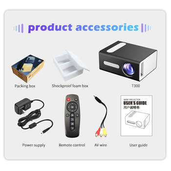 T300 LED Mini Projector Supports 1080P HDMI USB Home Audio Portable Projector Home Media Video Player With Built-in Speakers hot early educational learning machine for children built in speakers hdmi mini led entertainment projector home cinema theater