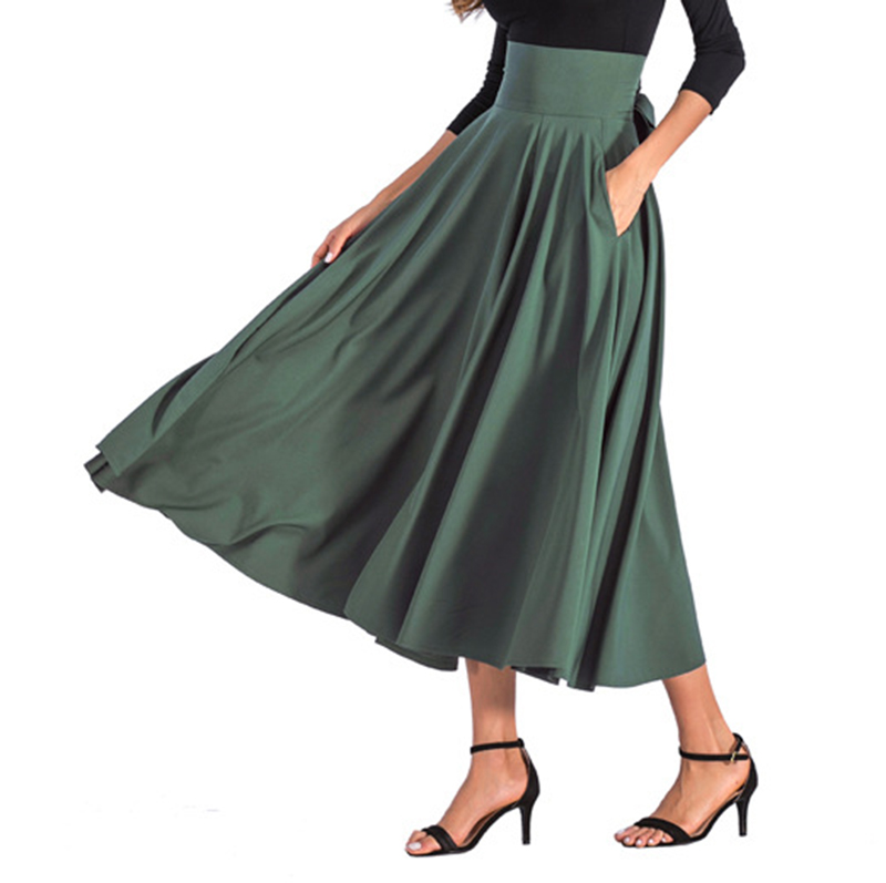 2020 New Fashion  Women Long Skirt Casual Spring  Summer Skirt womens Elegant Solid Bow-knot A-line Maxi Skirt Women Cothes (20)