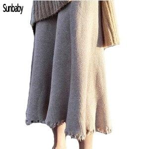 Damski Vintage dzianinowy, z frędzlami spódnica trzy czwarte w ciąży koreański wysokiej talii plisowana gruba spódnica macierzyńska 2019 zima P1203