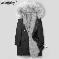 Real Fur Coat Winter Jacket Men Natural Fox and Mink Fur Liner Parka Men Raccoon Fur Collar Luxury Warm Parkas Plus Size MY1870